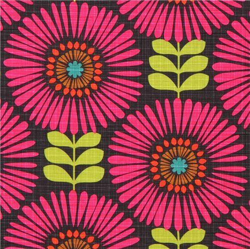 Tessuto floreale - tessuto grigio scuro fantasia a fiori Magenta  - un prodotto unico di modes4u su DaWanda