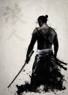 ronin samurai ninja warrior japan spatter sword katana bushido