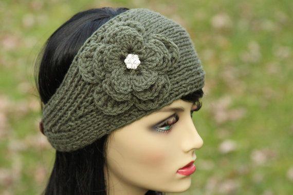 Hand Knitted Headbands Patterns : Headband - Ear Warmer - Head Wrap - Hand Knit - Crochet Flower - Sparkling Rh...