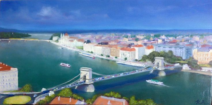 Budapest Lanchid (Chain Bridge) - oil on canvas 25x50cm (The oldest bridge in Budapest my sweet hometown, view from the top of the National Art Gallery)