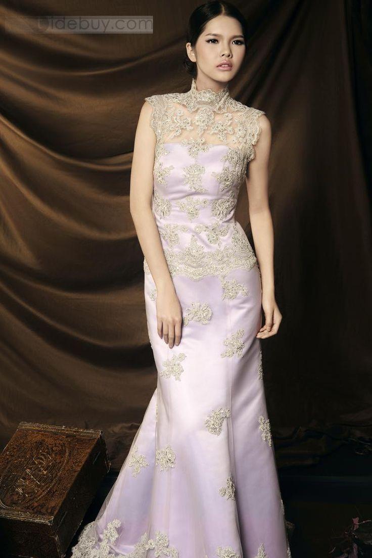 ファッショナブルマーメイドハイレースネックアップリケノースリーブイブニングページェントドレス