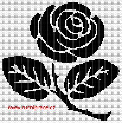 Rose, free cross stitch patterns and charts - www.free-cross-stitch.rucniprace.cz