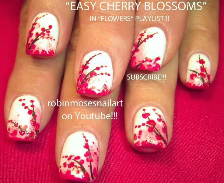 """Nail-art by Robin Moses: """"cherry blossom"""" """"nail art"""" """"cherry blossoms"""" """"sakura blossom"""" """"cherry blossom nails"""" """"watercolor nails"""" """"watercolor cherry blossom"""" """"cherry blossom design"""" """"cherry blossom print"""" cherry blossom nails nailart nail art sakura """"robin moses"""""""