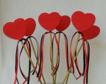 Red Heart Wands Set of 6, Queen of Hearts Wand, Alice In Wonderland Inspired, Birthday Party Favor, Table Decoration, Party Supplies