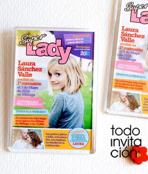 Recordatorio de comunión. Imanes de nevera de 10x7 cm (metacrilato) al estilo de una portada de revista de la prensa rosa, personalizados con su foto