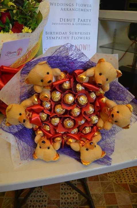 Red and Purple Themed Ferrero Chocolate Bouquet