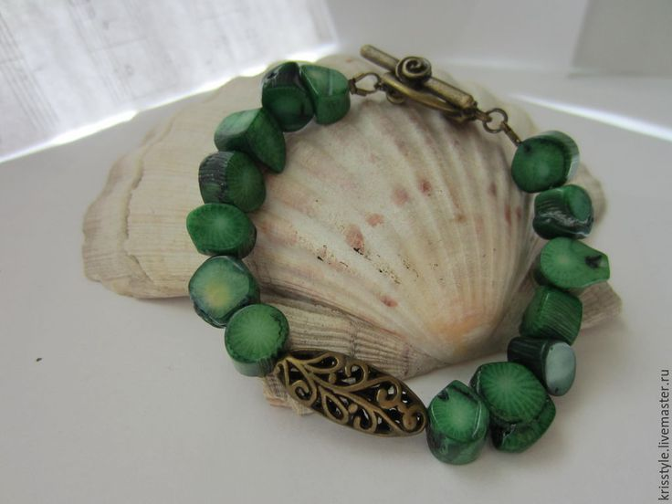 Купить Браслет из зеленого коралла. - зеленый, зеленый камень, коралл зеленый, коралл натуральный