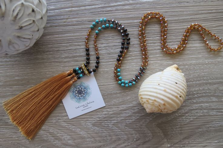 Tassel Necklace Long Caramel Brown Crystal Turquoise Diamonte Cocktail Bronze Handmade Beach Wear by SeaCircusCollections on Etsy