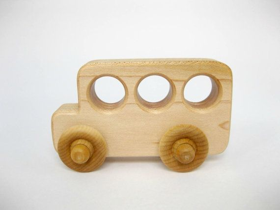 Little Wood Toy School Bus Natural Maple