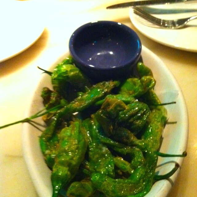 Tapas suggestion @Boqueria NYC or DC: Pimientos de Padron -blistered shishito peppers with coarse sea salt! Paired w/crisp Albarino!