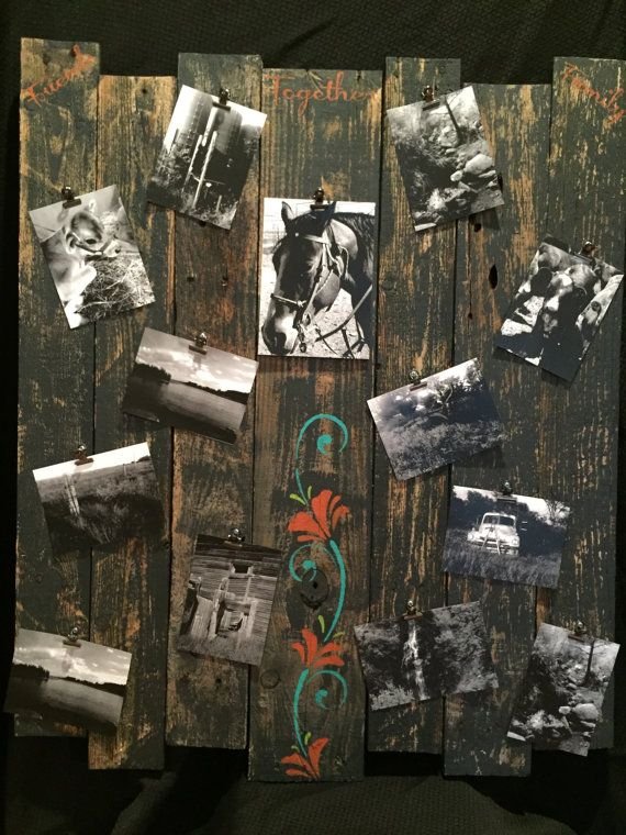 Distressed picture board Picture collage board by CraftedSimplyInc