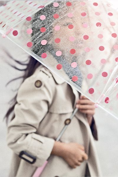 april showers :: pink polka dot umbrella