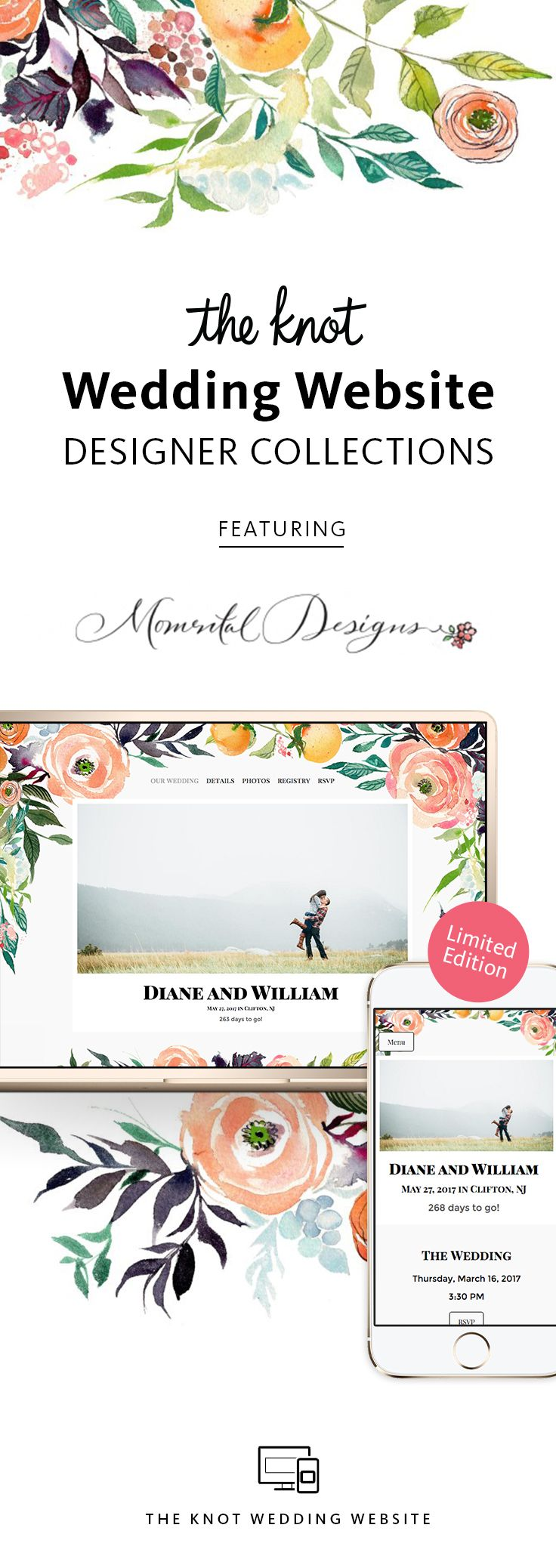 """The Knot Wedding Website Designer Collection: All-in-One Registry, Guest Tools & More�Browse Designs and Create Your Page For Free"""