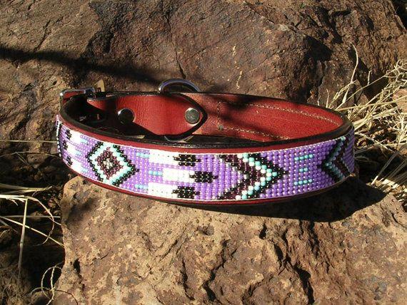 Beaded dog collar/ lavender feather. $45.00, via Etsy.