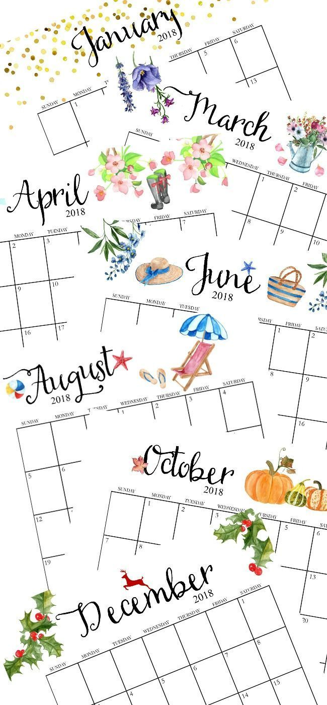 2018 Free Printable Monthly Calendar! Includes individual monthly calendars, weekly planners, weekly menu planner, faith planner and inspirational printables. Presented in an easy to download and print 20-page PDF. #2018calendar #printablecalendar #calendar #freecalendar