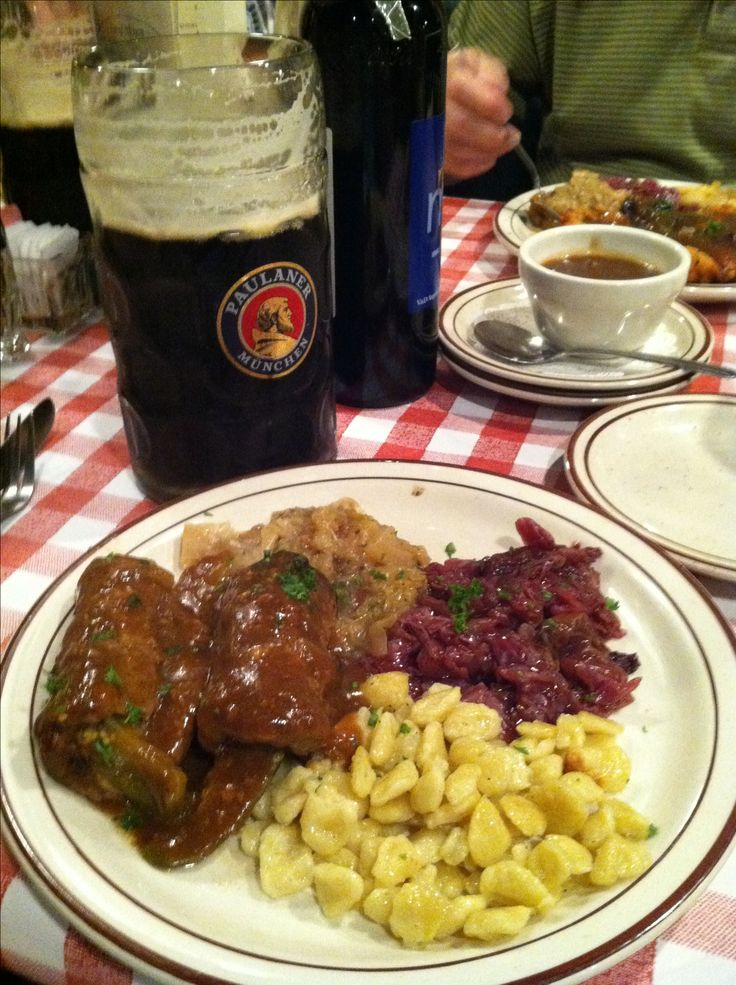 German food -  Rouladen, Spaetzle, red cabbage,, and BEER -- find this recipe and the best German recipes @ www.Mybestgermanrecipes.com in English