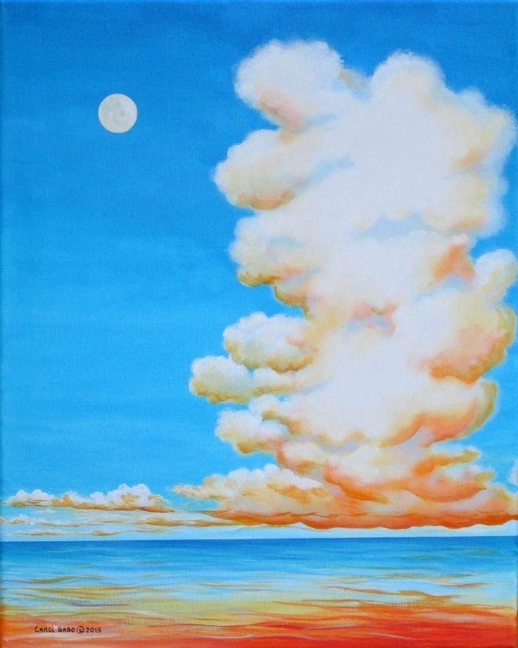 Moon Clouds-Original painting by the artist, 20x16 #Sky #realism,clouds/sky #Realism
