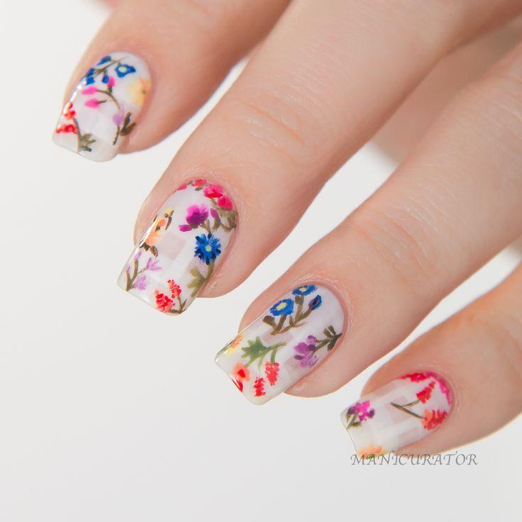 Floral nail art inspired by Emmy Rossum's Oscar de la Renta gown