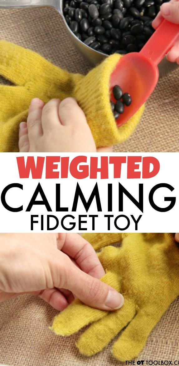 use a glove to make a weighted fidget toy.