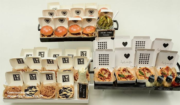love the custom branded boxes - Mini pies, burgers and pizzas