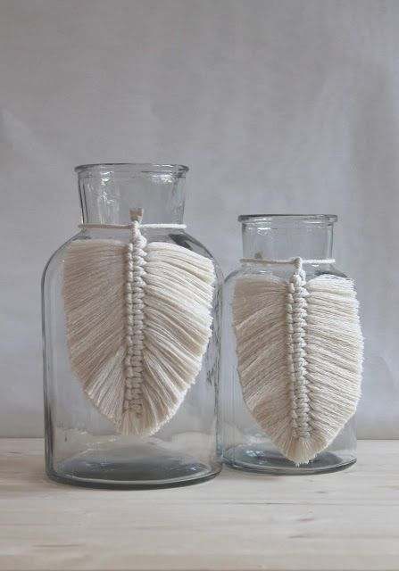 DIY Boho – Decoration with macrame leaves Display with sticks, sea oats, plant lifestyles…..