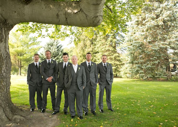 Make your main man stand out from the Groomsmen crowd in a unique shirt and tie combo | Charcoal suits | Three piece suit | Groom style | White shirt + white tie | Venue: St. Marys Golf & Country Club - www.stmaryswedding.com | Photography: Painting With Light - http://www.paintingwithlightphotography.ca/ | Floral Design: Lyric Flowers - http://lyricflowers.ca/