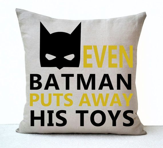 Decorative Throw Pillow Cover Even Batman Puts Away by AmoreBeaute