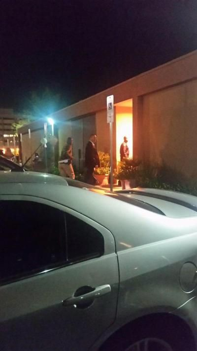 Kobe Bryant (l.) seen rushing into the hospital where Lamar Odom is ailing.