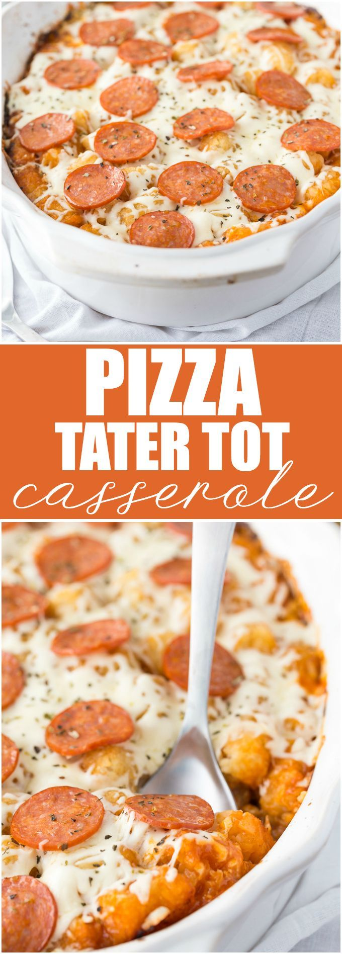 Pizza Tater Tot Casserole - This comforting casserole has three layers of goodness. Use your favourite pizza toppings to create the perfect family meal. (Cheese Appetizers Tater Tots)