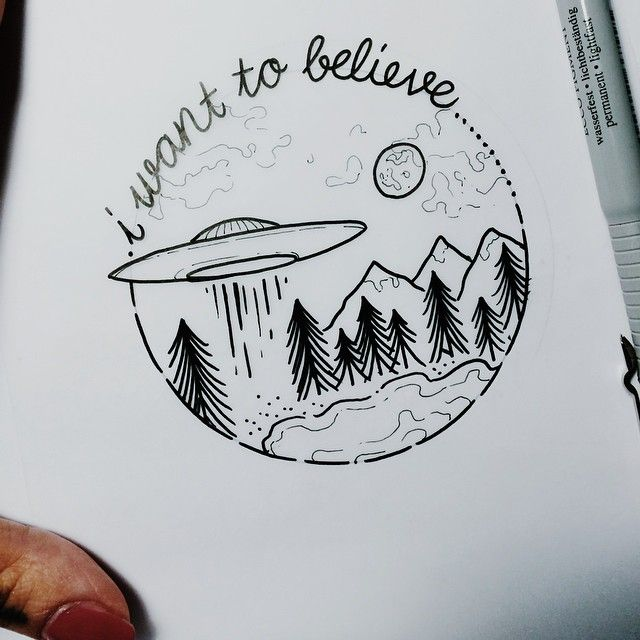 Maybe a more minimalist version of this- just mountains and ufo