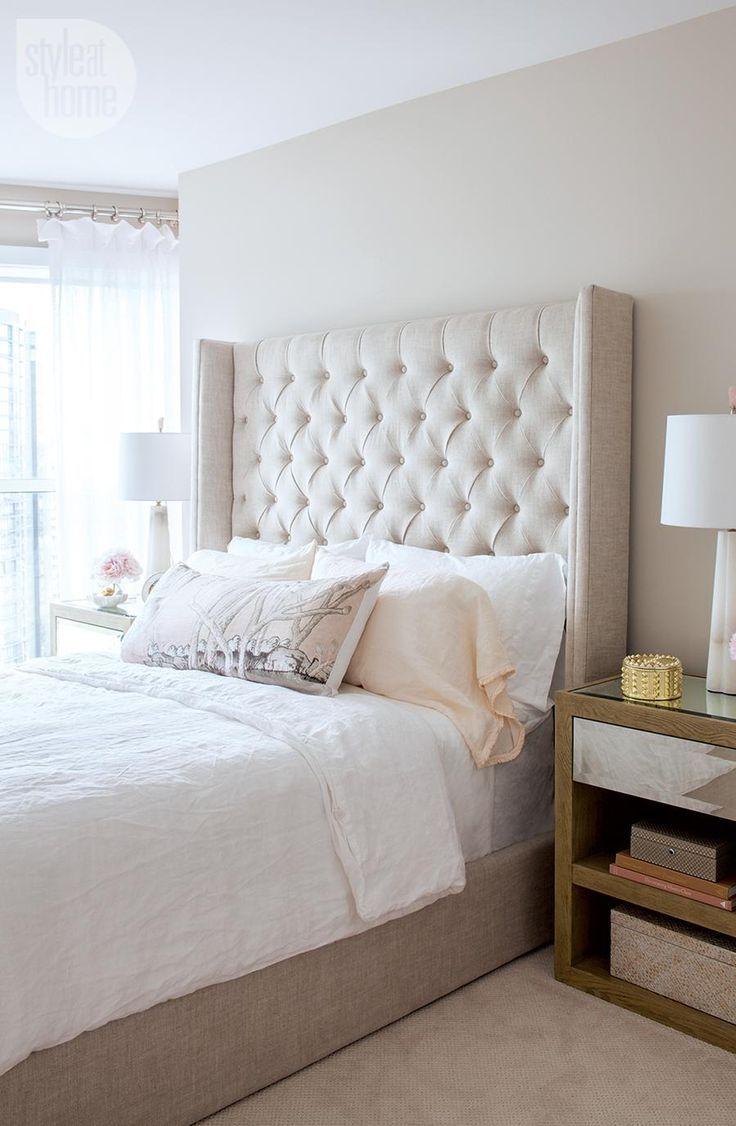 Condo Tour Elegant Eclectic Design Tufted Headboard Bedroom
