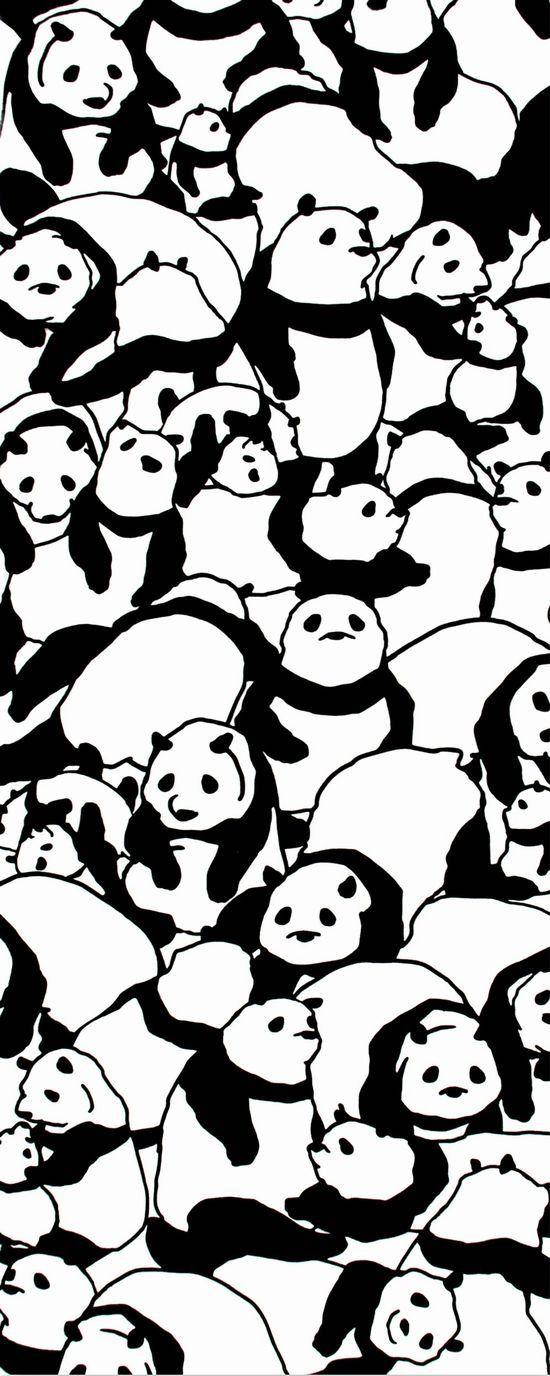 Japanese Tenugui Towel Fabric, Monochrome Panda Bear Animal Art Design, Cotton 100%, Wall Art Hanging, Gift Wrapping, Headband, Scarf - JapanLovelyCrafts