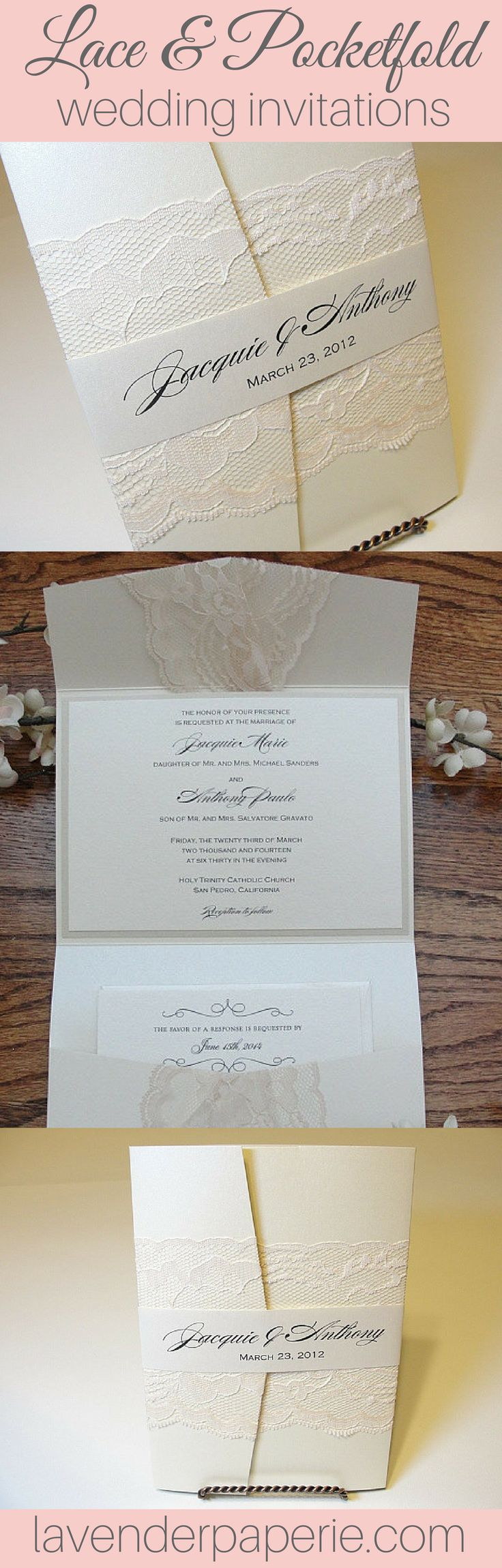 lace wedding invitation wrap%0A Amy  band horizontal  Pocketfold Wedding InvitationsVintage