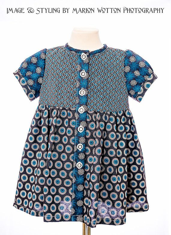 Girls African Print Winter Pinafore  Blue/ by JenniDezignsClothing