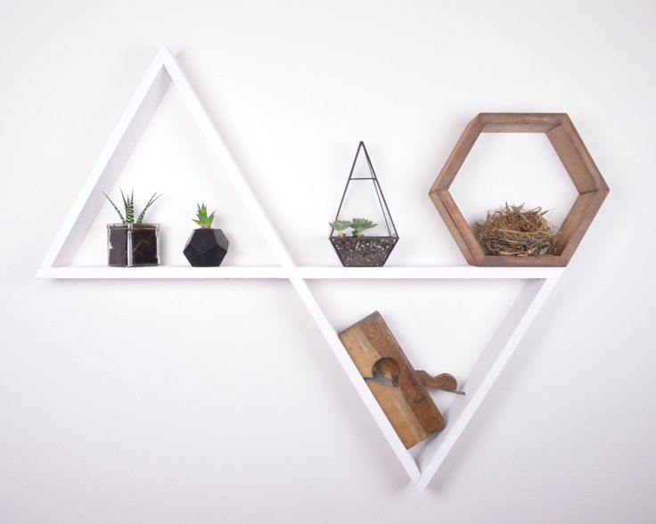 DOUBLE TRIANGLE SHELF - Nursery Decor - Display Shelves - Home decor - Geometric Shelves - Triangle Shelf by GRAINandGRIT on Etsy https://www.etsy.com/listing/490074947/double-triangle-shelf-nursery-decor
