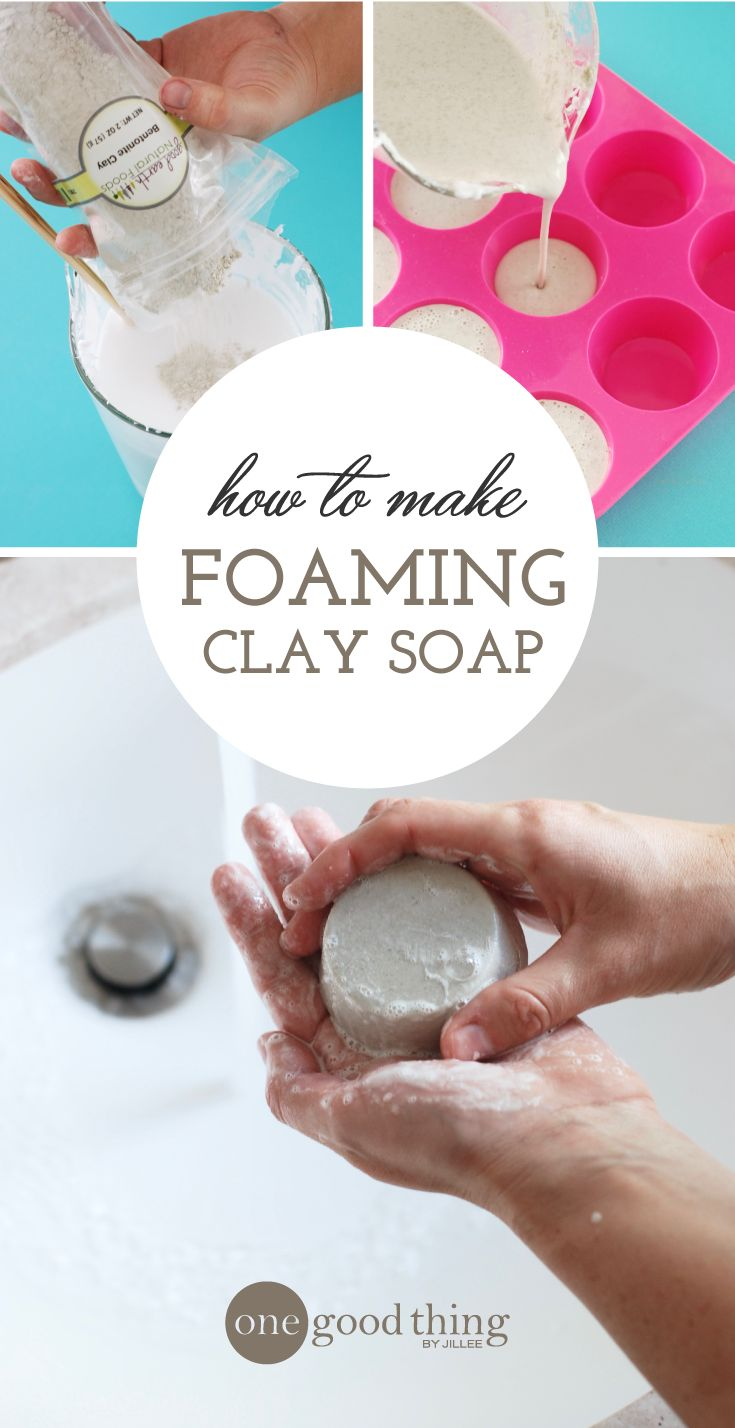 Learn how to make your own foaming clay soap! This recipe contains bentonite clay, which can help clear skin conditions and other skin irritations.