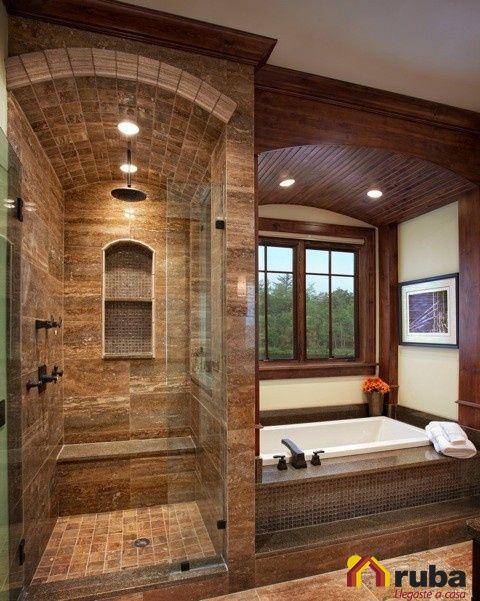 Obtener una habitación de baño rustica o elegante se puede conseguir con la utilización de la madera ¿Qué te parece la idea? #HabitaciónRuba Te recomendamos inspirarte con http://casaydiseno.com/bano/cuartos-de-bano-rusticos-madera-piedra.html