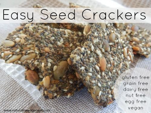 Easy seed crackers. Grain Free, Gluten Free, Dairy Free, Egg Free, Nut Free, Vegan. Quick, easy and full of nutrients.