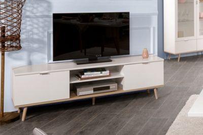 Meuble TV scandinave LEKNES Blanc | Sylvie | Flat screen