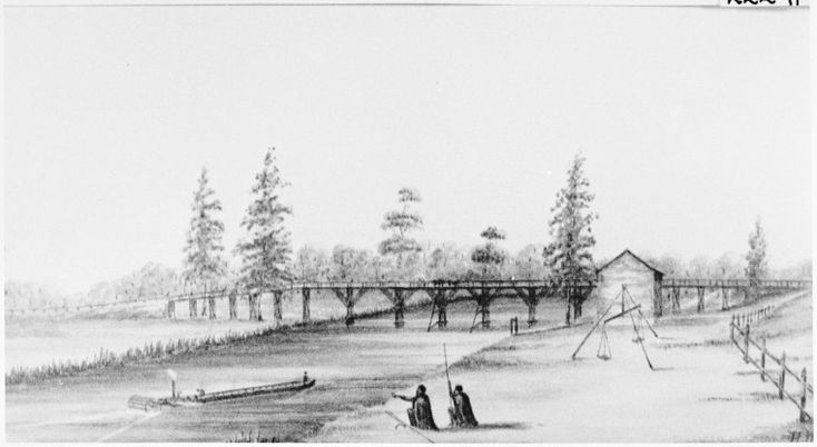 002229PD: Bridge over the River Swan at Guilford [i.e. Guildford] Western Australia, constructed by Captain E.W. Ducane, R.E., on the plan of an American railway bridge, 1859. http://encore.slwa.wa.gov.au/iii/encore/record/C__Rb4092042__SSwan%20River%20guildford__P0%2C24__Orightresult__U__X2?lang=eng&suite=def#attachedMediaSection