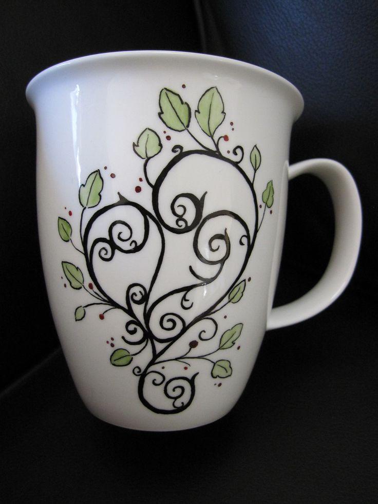 smart idea porcelain coffee mugs. Tea cup  Coffee mug heart hand painted bone china 31 00 via best Cup Art images on Pinterest cups
