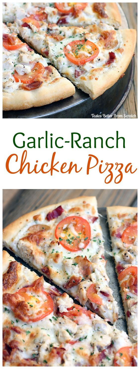 This Garlic Ranch Chicken Pizza is our families FAVORITE! Recipe on TastesBetterFromScratch.com: