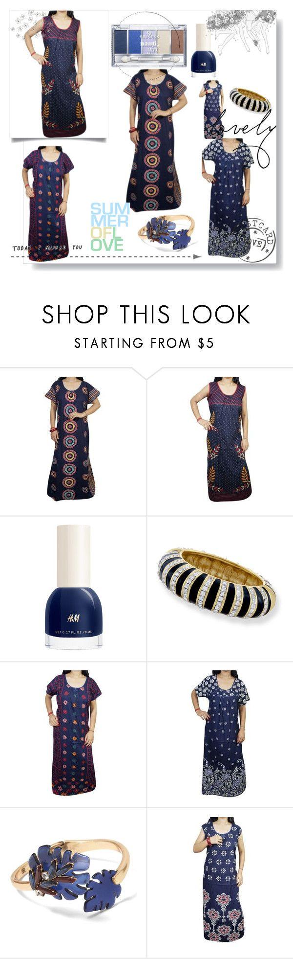 """Womens Cotton Blue Nighty"" by royalimports ❤ liked on Polyvore featuring H&M, Kenneth Jay Lane, Banana Republic, WALL, sleepwear, Nightwear, women, nighty and maxinighty"