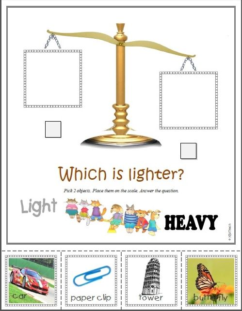 "*FREE WORKSHEETS* Teach basic measurement concepts using a ""virtual scale."" K.MD.1-2: Describe measurable attributes of objects, such as length or weight. Directly compare two objects ... to see which object has ""more of""..."