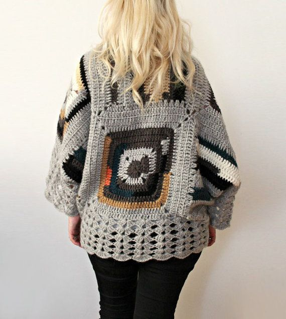 Afghan Crochet CardiganGray Mohair by LoveandKnit on Etsy, $115.00