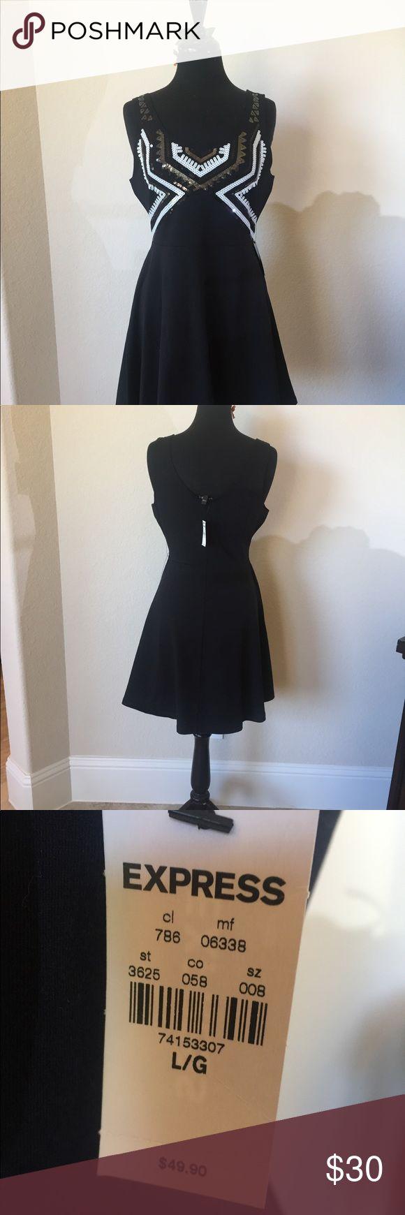 Beautiful Black Sundress with Sequins NWT Brand new, never worn Express sundress Express Dresses Midi