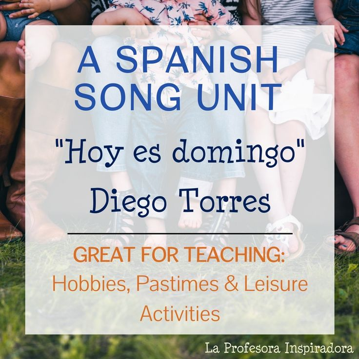 """A complete activity packet with all you need to teach the song """"Hoy es domingo,"""" by Diego Torres. This is an excellent song to use for a comprehensible input activity with authentic cultural materials in lower-level Spanish classes, and is particularly well-suited for a unit on hobbies, pastimes, and leisure activities. This song is a student favorite!"""