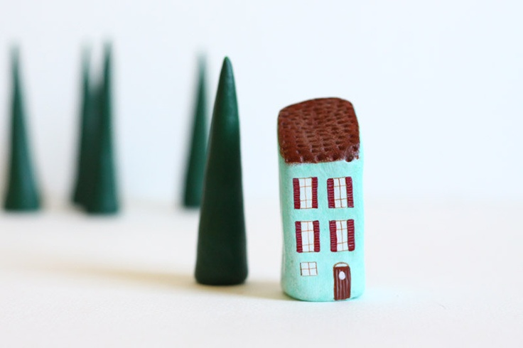 Etsy Transaktion - Little Italian House and One Tree - Brown and Blue with Red Shutters