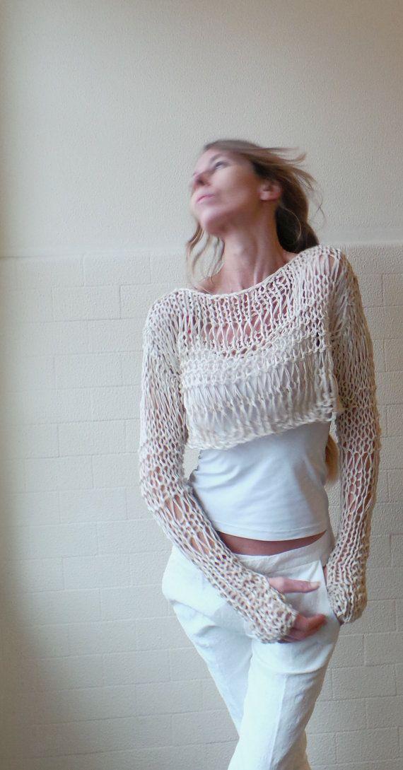 Suéter corto marfil / neutro lino / algodón Jersey por ileaiye