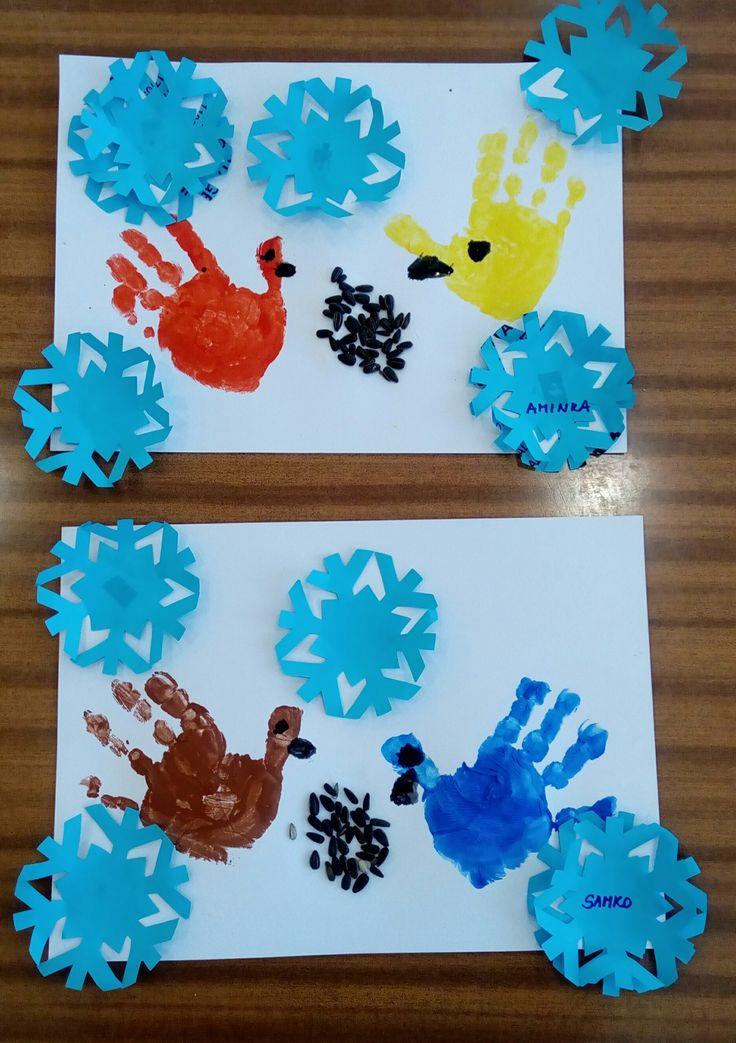 Vtáčky v zime - odtlačky rúk